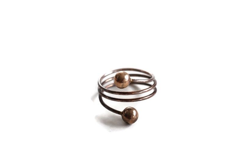 Sterling Silver Coiled Wire Ball End Ring - product image