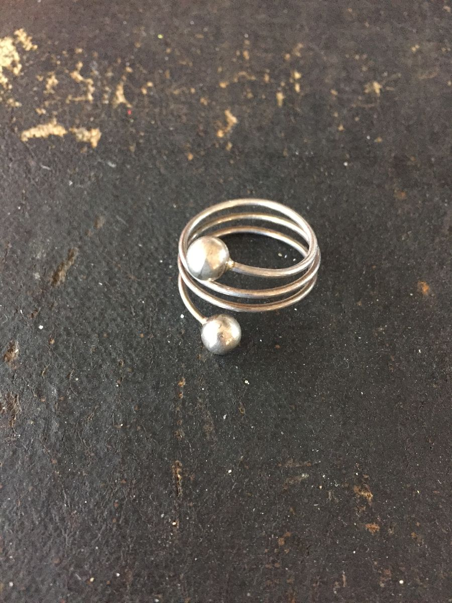 Sterling Silver Coiled Wire Ball End Ring - product images  of