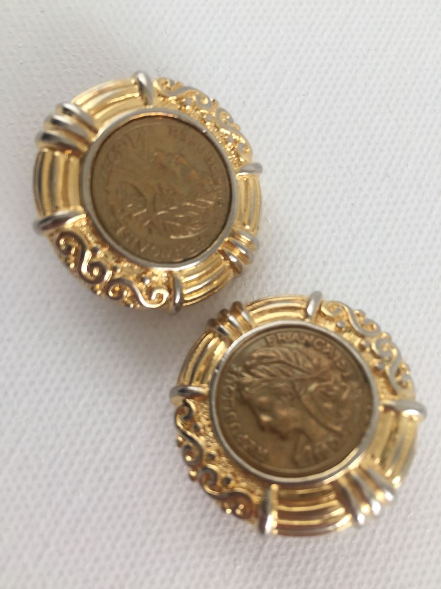 French Coin Clip On Earrings Gold Tone - product image