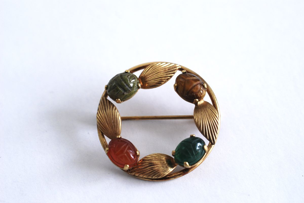 Gold Filled Circle Scarab Brooch  - product images  of