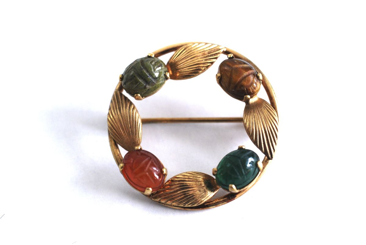 Gold Filled Circle Scarab Brooch  - product image