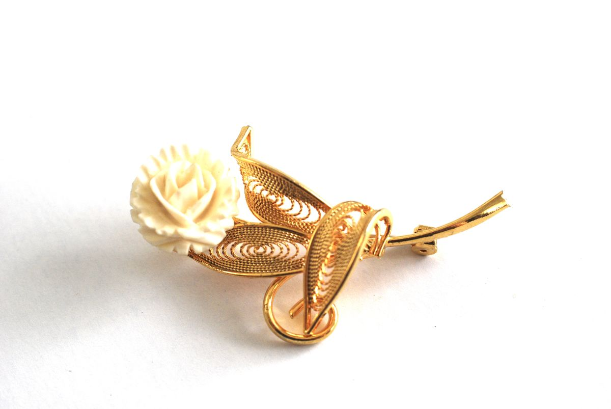 Carved Bone Flower Brooch with Gold Filigree Leaves - product image