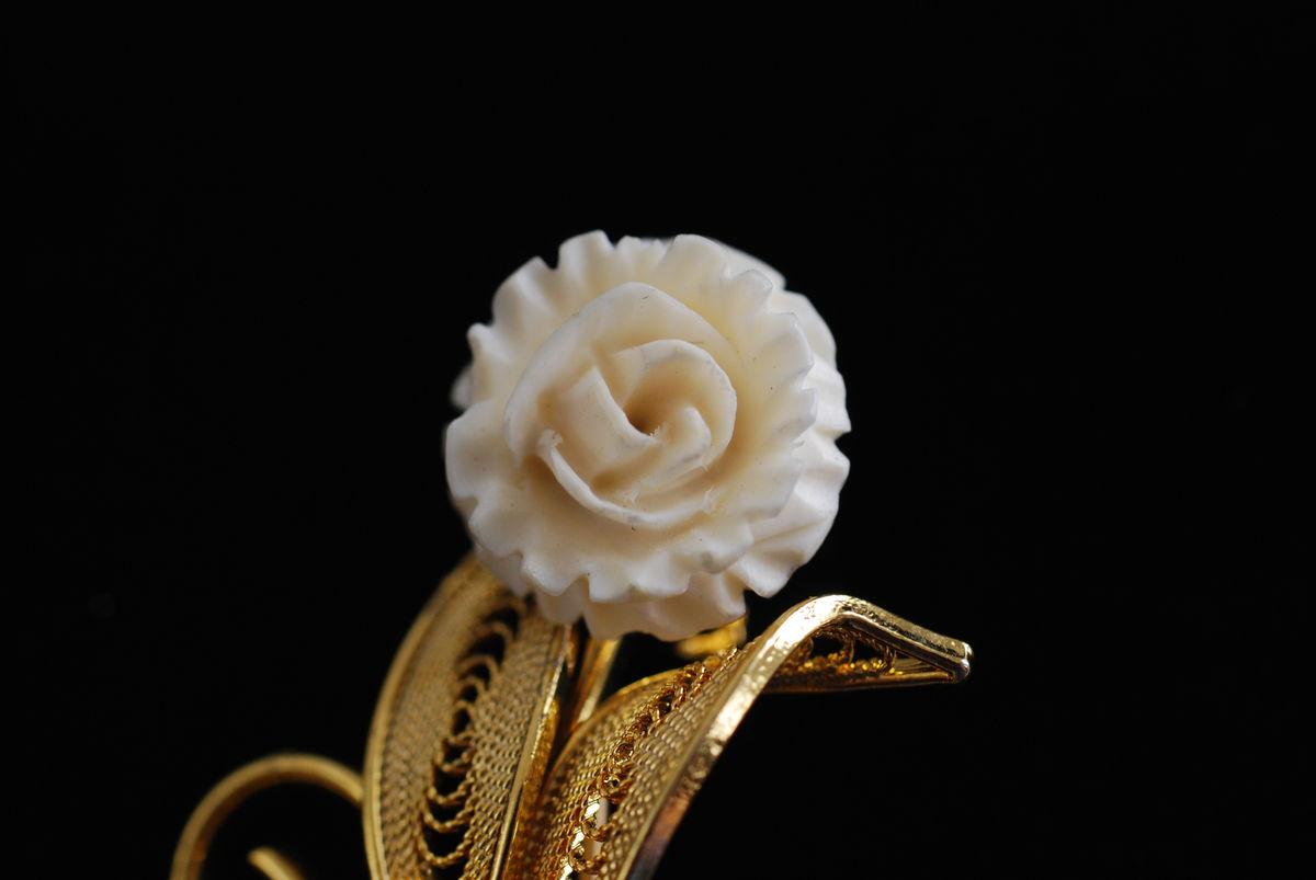 Carved Bone Flower Brooch with Gold Filigree Leaves - product images  of