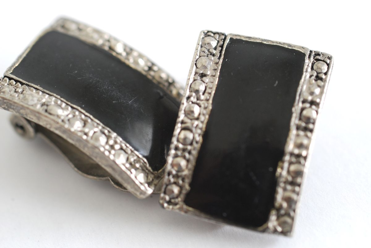 Vintage Black Enamel and Faux Marcasite Pewter Look Earrings - product images  of