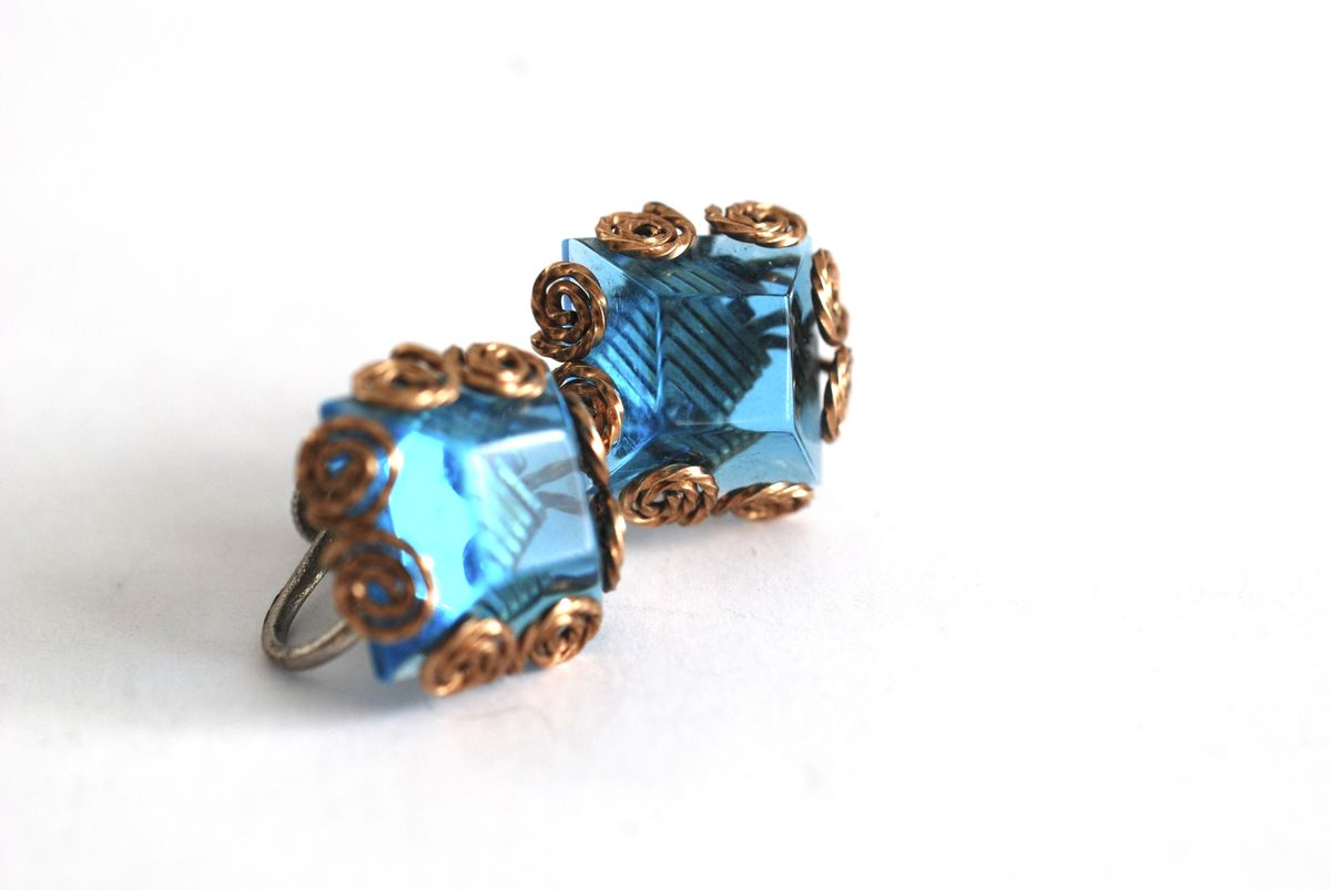Vintage Wire Wrapped Earrings, Gold and Blue - product image