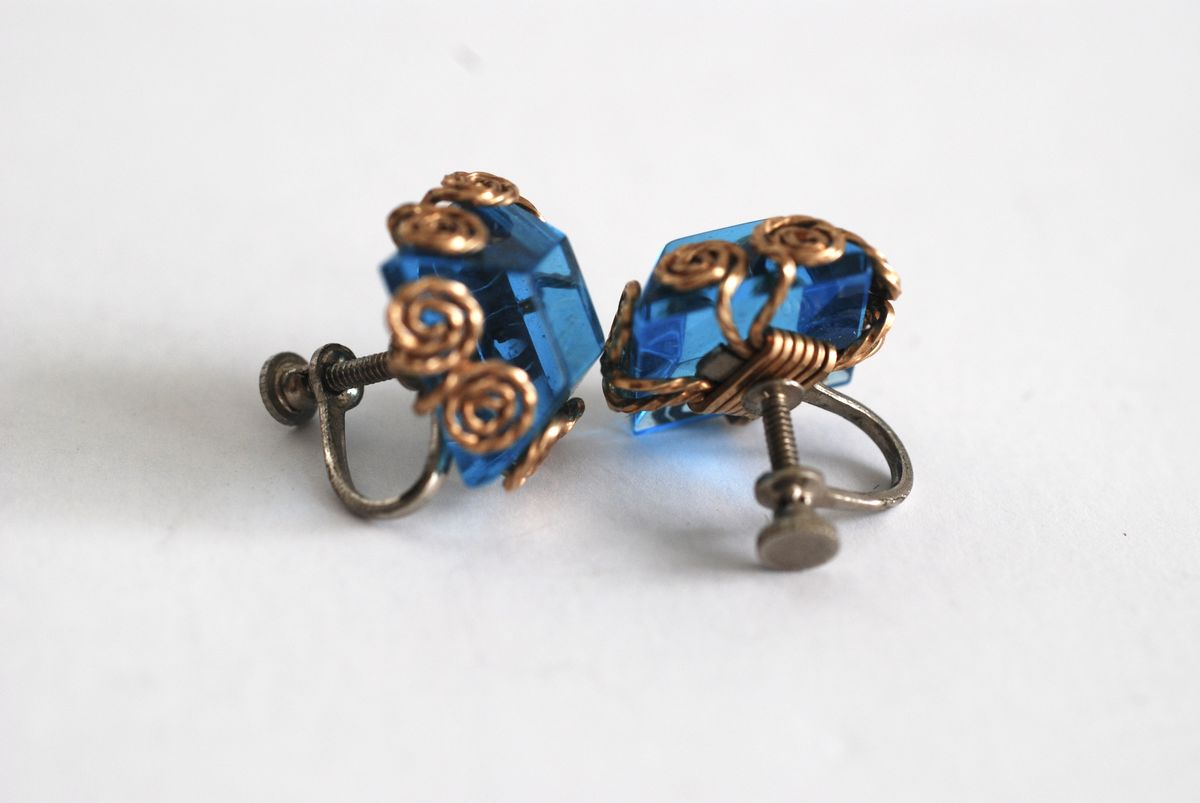 Vintage Wire Wrapped Earrings, Gold and Blue - product images  of