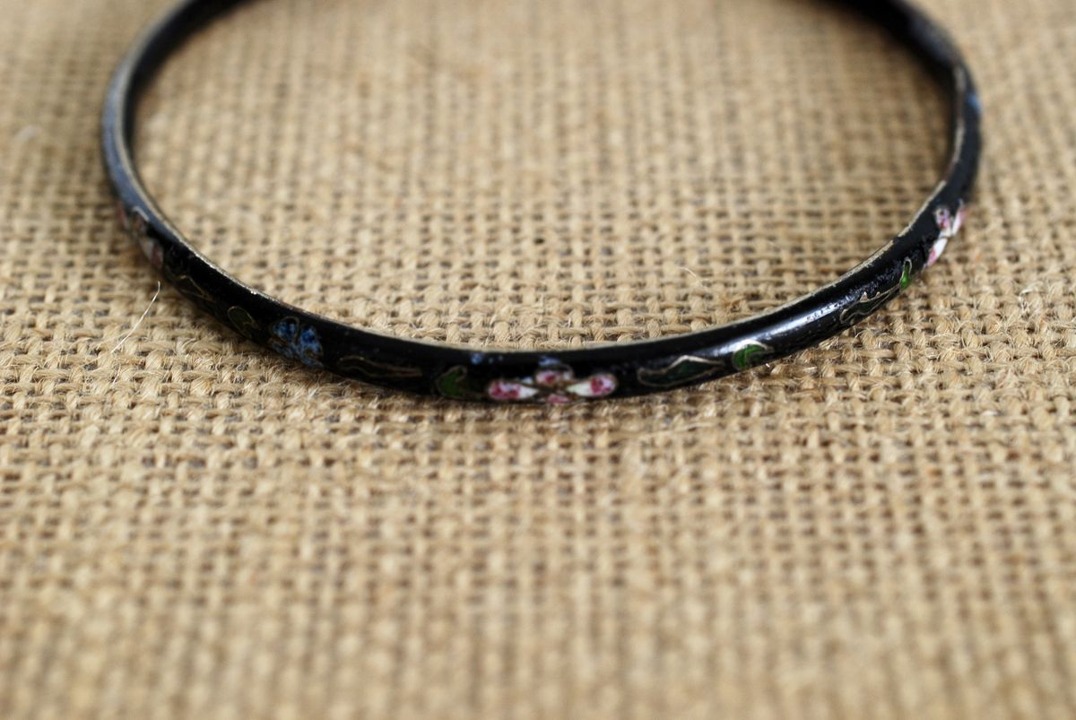 Vintage Black Cloisonne Thin Bracelet - product images  of
