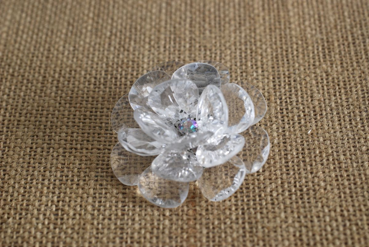 Huge Clear Acrylic Petal Flower Statement Ring Adjustable Size - product image
