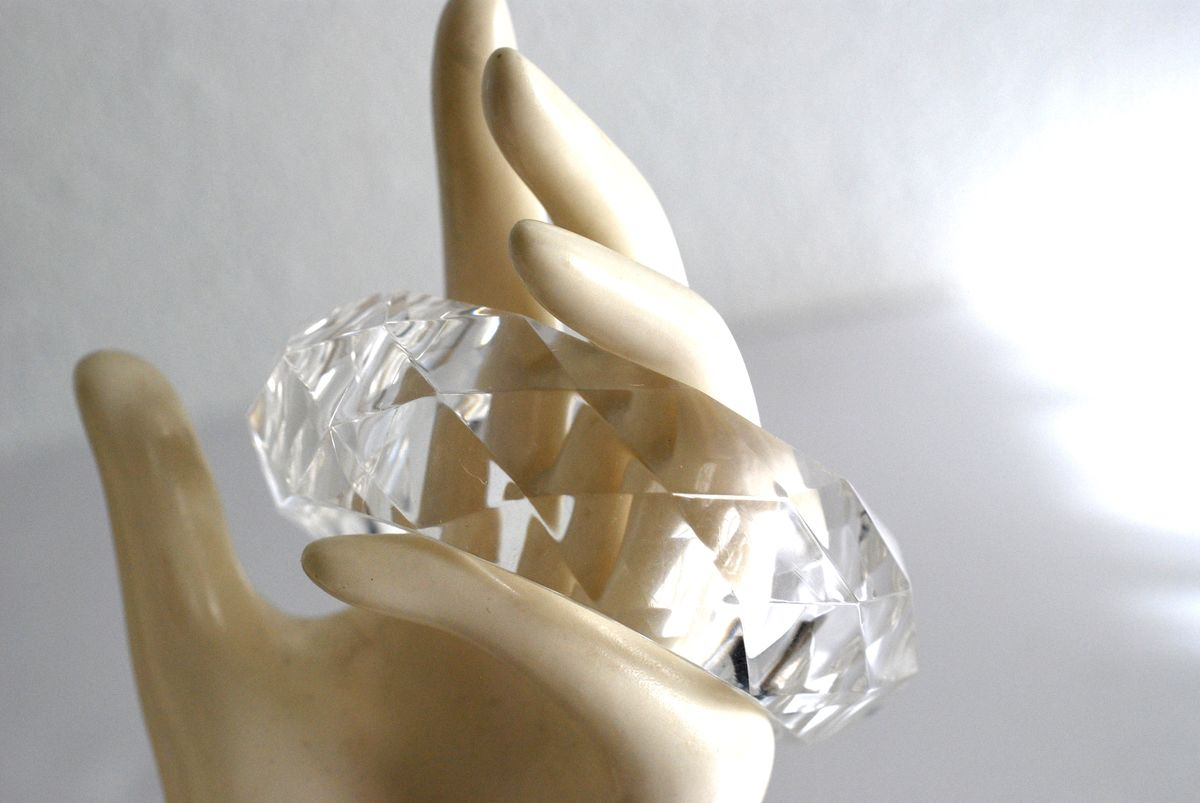 Clear Faceted Bangle Bracelet, Chunky Lucite - product images  of