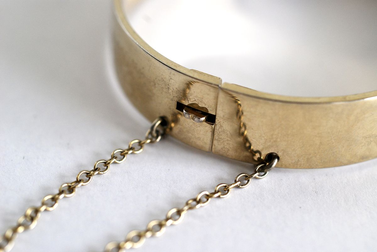 Whiting & Davis Gold Tone Hinge Bracelet - product images  of