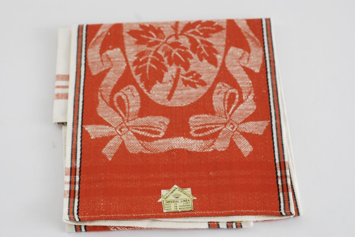 Linen Kitchen Towel NOS made in Czech Burnt Orange, Flowers Leaves & Bows - product image