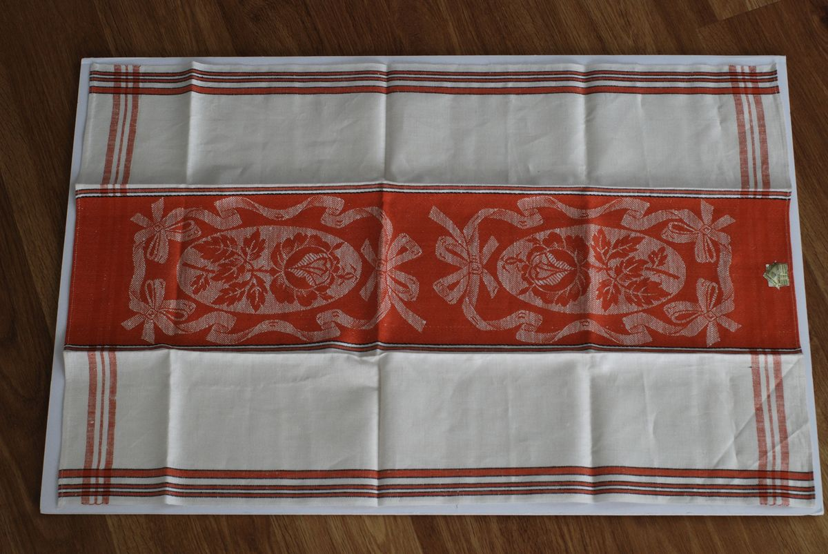 Linen Kitchen Towel NOS made in Czech Burnt Orange, Flowers Leaves & Bows - product images  of