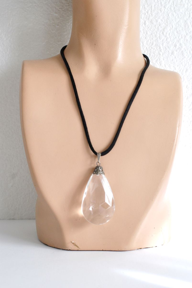 Large Crystal Drop Pendant Necklace By Robert Rose - product image
