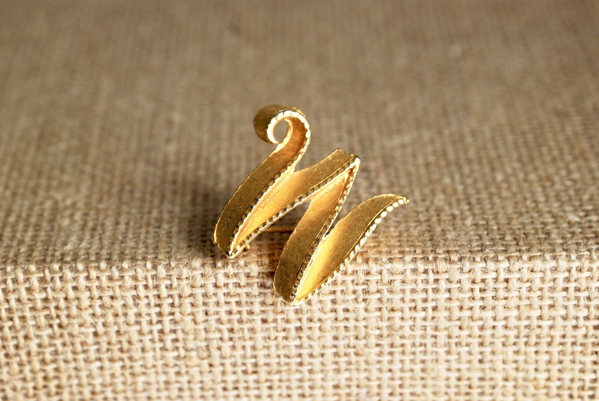 Gold-tone Ribbon Brooch Letter M or W - product image