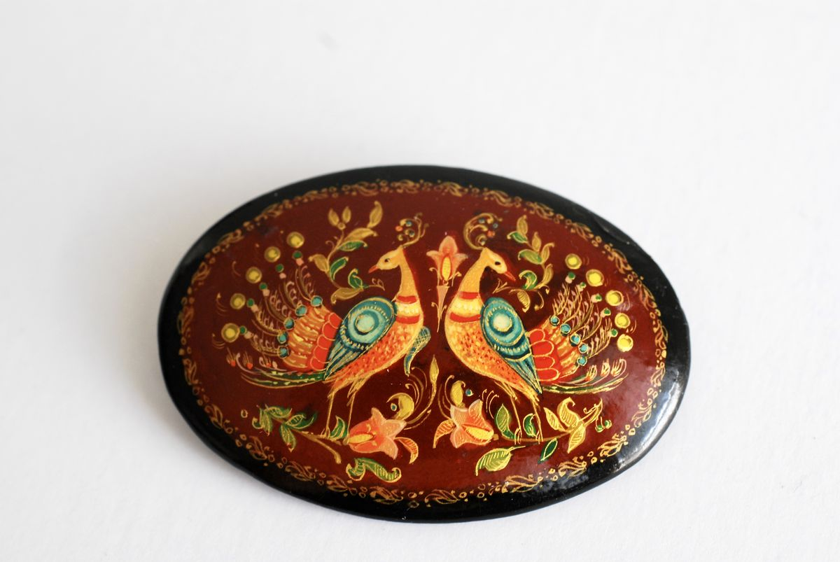 Vintage Russian Hand Painted Lacquer Brooch - product image