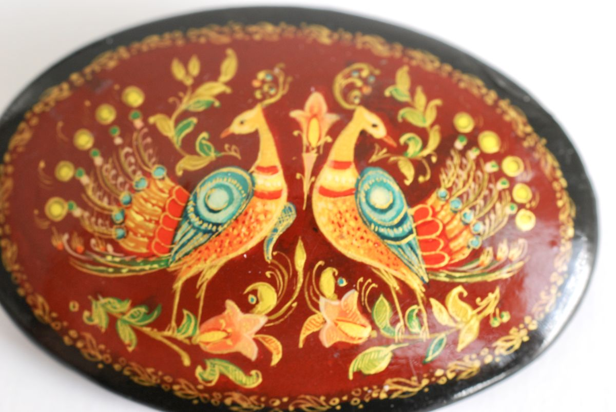 Vintage Russian Hand Painted Lacquer Brooch - product images  of