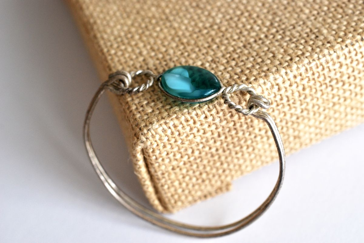 Silver Wire Wrapped Pendant Necklace and Bracelet Sea Blue Glass - product images  of