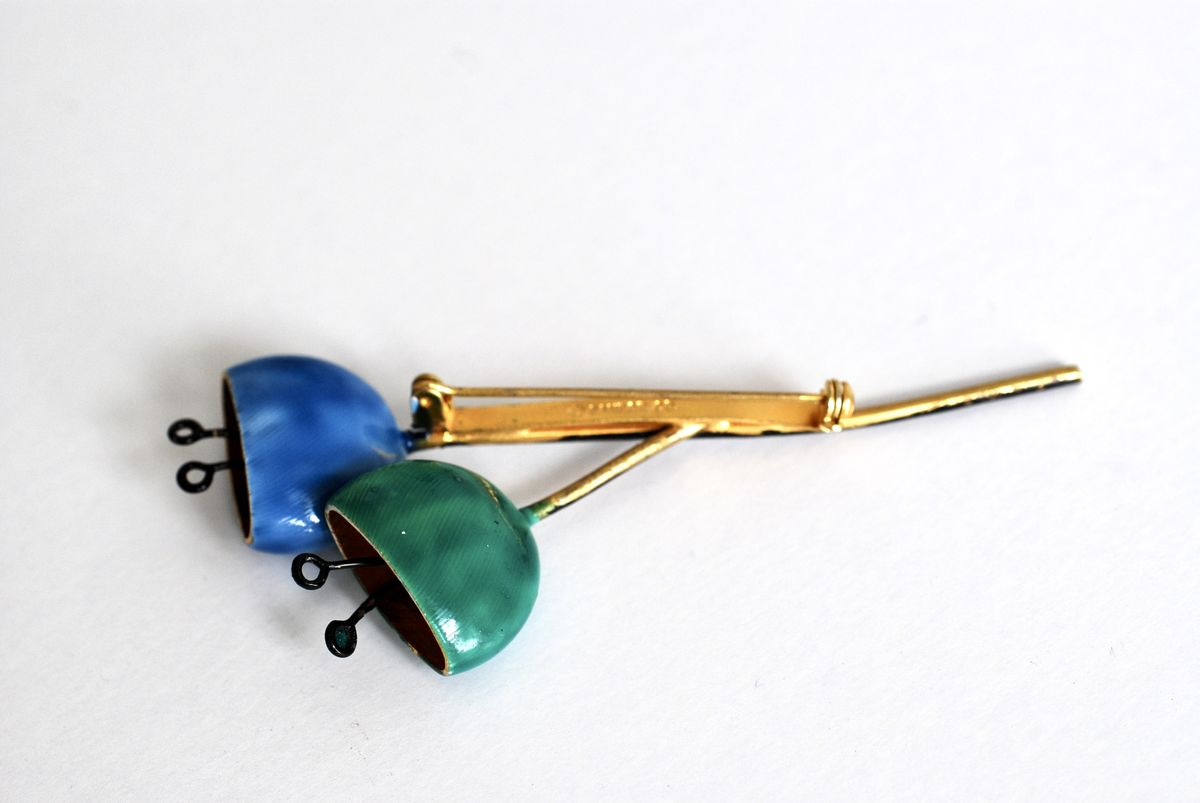 Vintage Flower Brooch in Blue and Green by Sandor Co. - product images  of