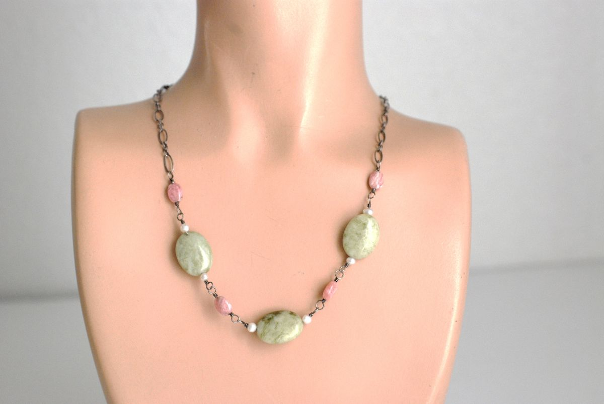 Pink and Moss Agate Necklace Sterling Chain - product image