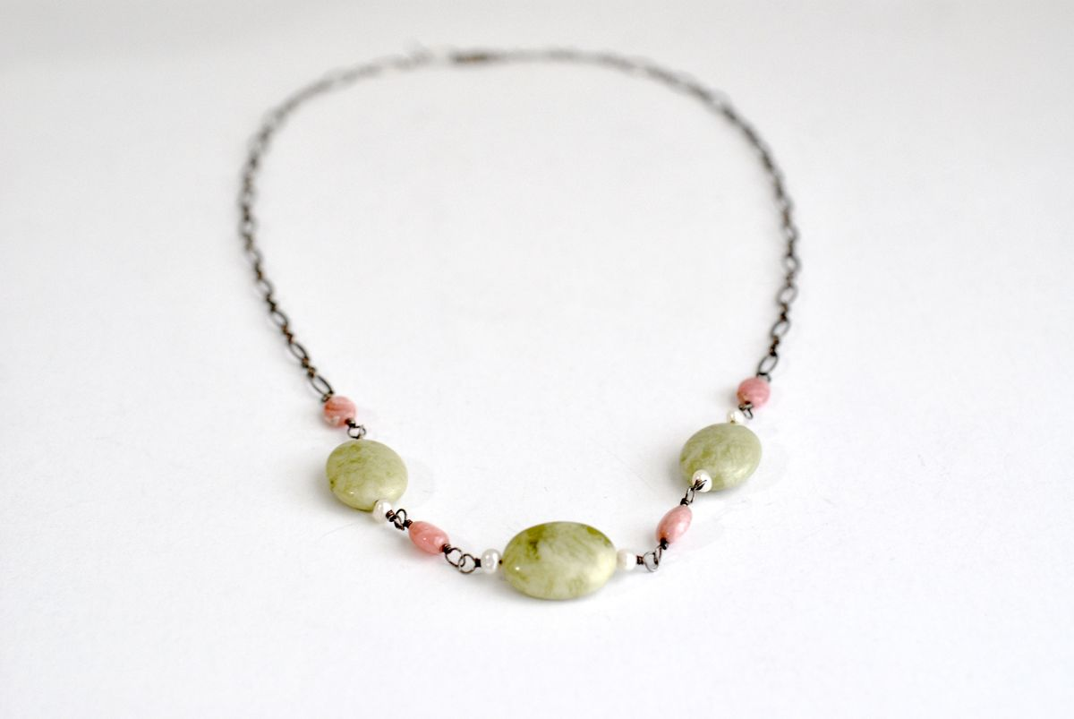 Pink and Moss Agate Necklace Sterling Chain - product images  of