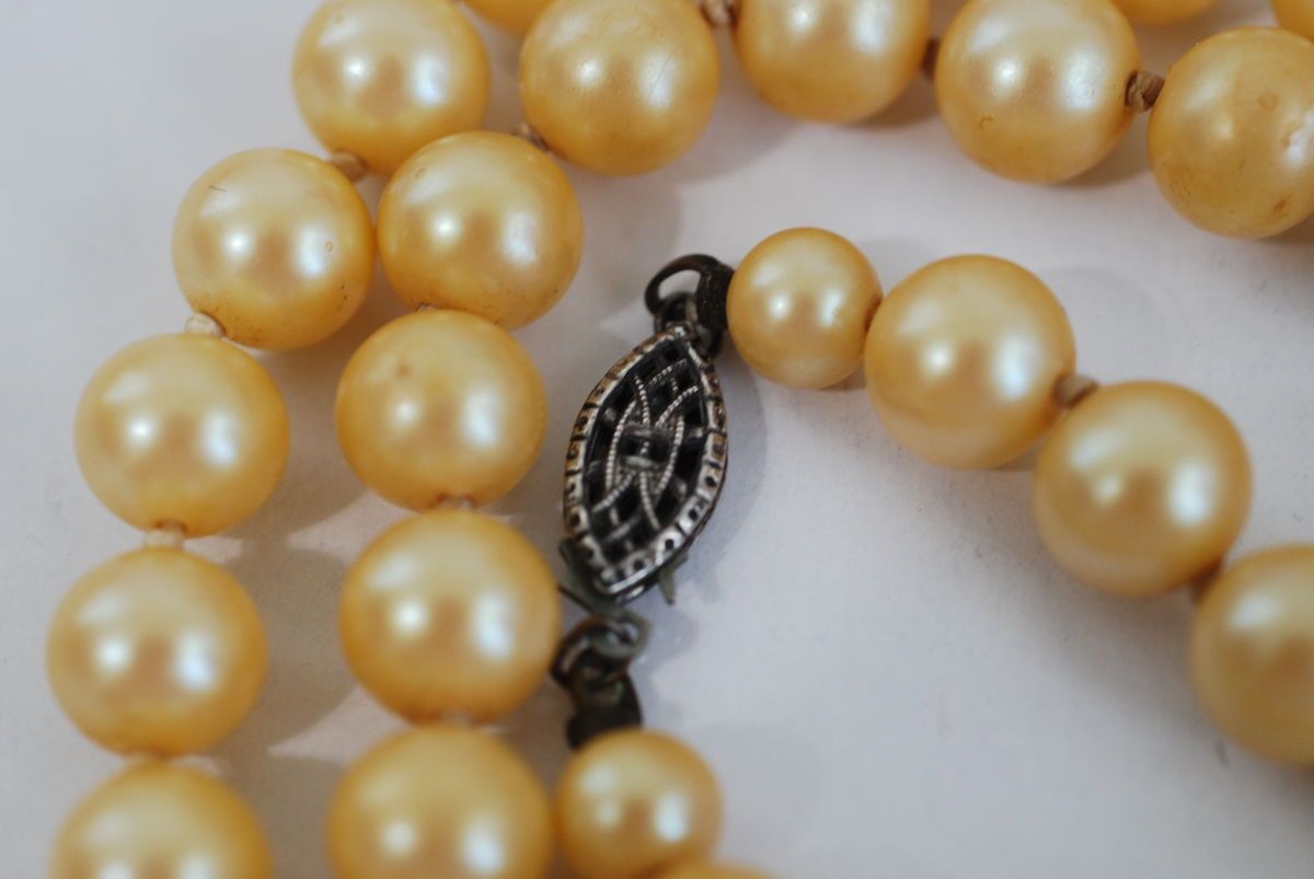 Single Strand Champagne Pearls w/Sterling Clasp - product images  of