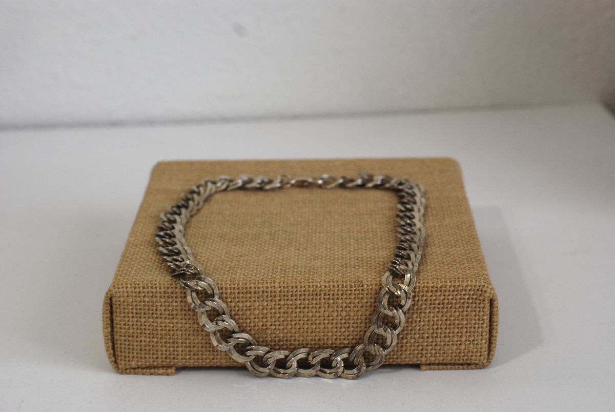 "Large Double Link Silver Metal Chain Necklace 18"" - product images  of"