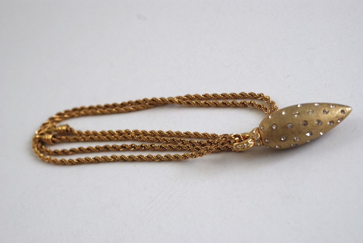 Vintage Swarovski Gold Tone Pendant on Long Chain - product images  of