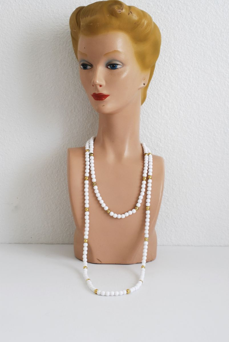 White and Gold Trifari Beaded Necklace Pair - product image