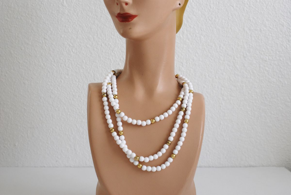 White and Gold Trifari Beaded Necklace Pair - product images  of