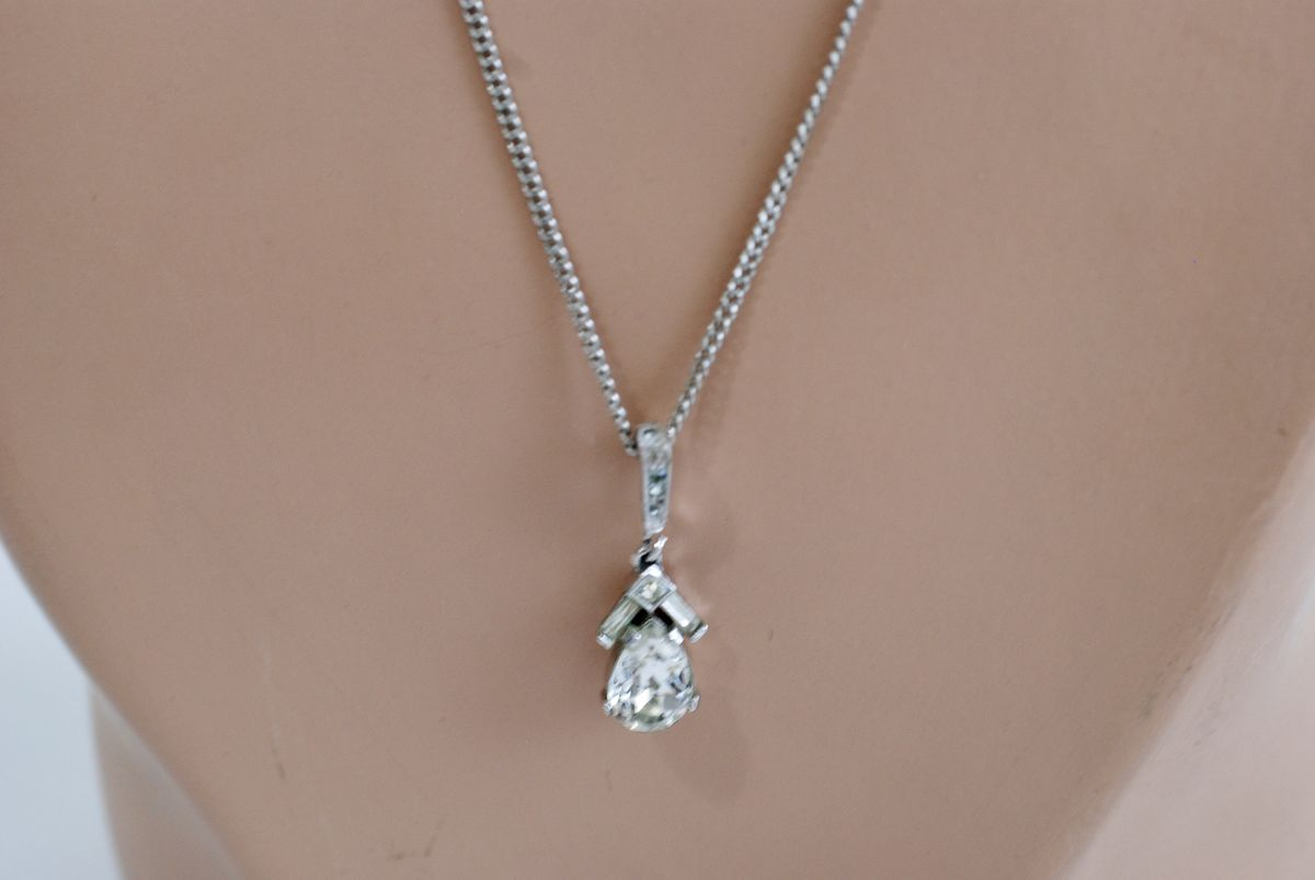 Tiny Teardrop Crystal Pendant Necklace Vintage Trifari - product images  of