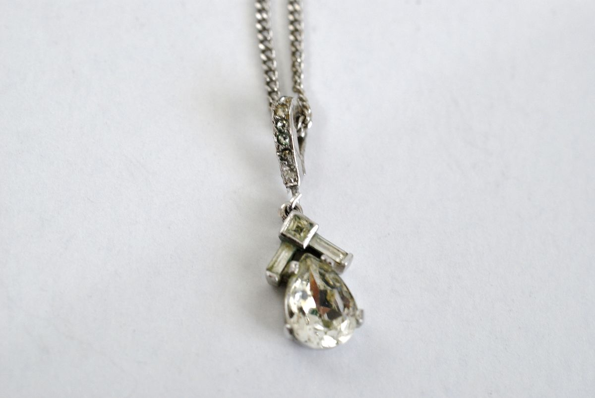 Tiny Teardrop Crystal Pendant Necklace Vintage Trifari - product image