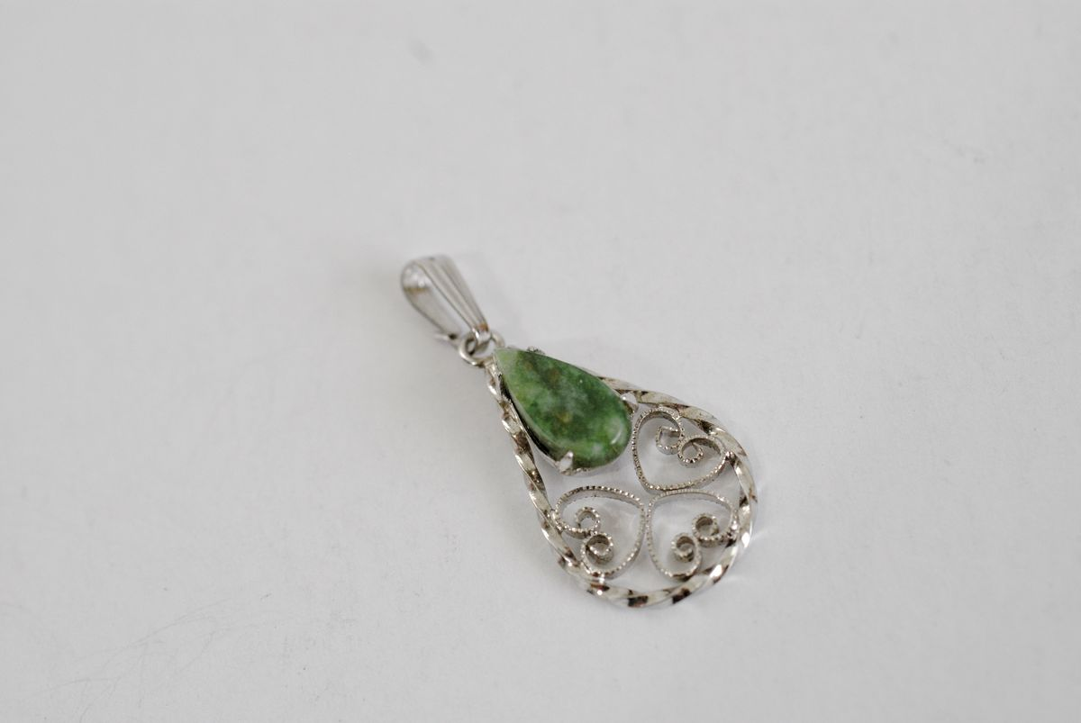 Sterling Silver Nephrite/Jadeite Filigree Teardrop Pendant - product images  of