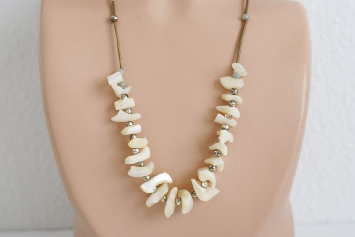 Vintage 1970s Chunky BoHo Style Mother of Pearl Necklace  - product image