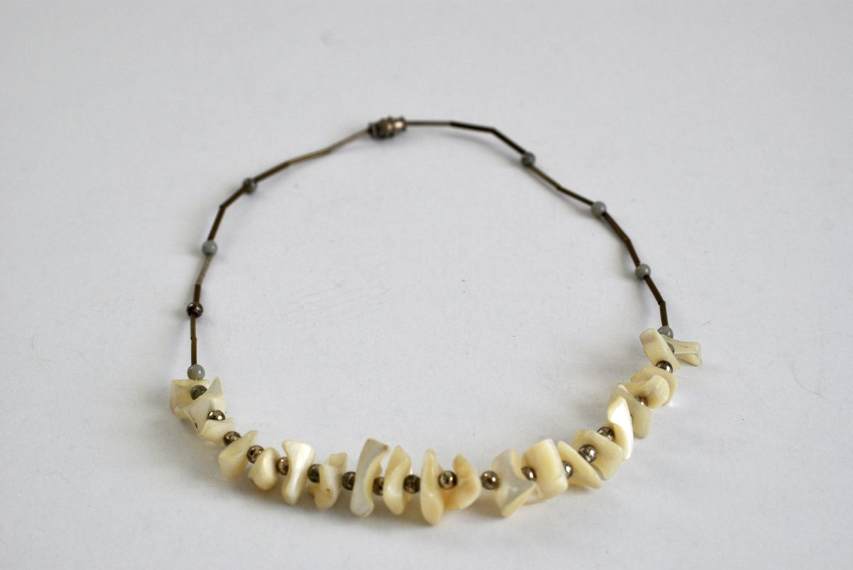 Vintage 1970s Chunky BoHo Style Mother of Pearl Necklace  - product images  of