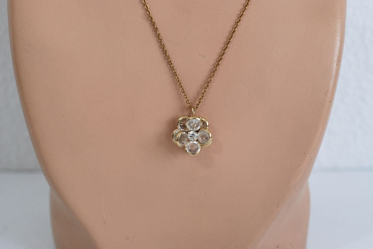 Vintage Crystal Flower Pendant Necklace Gold Plated - product image