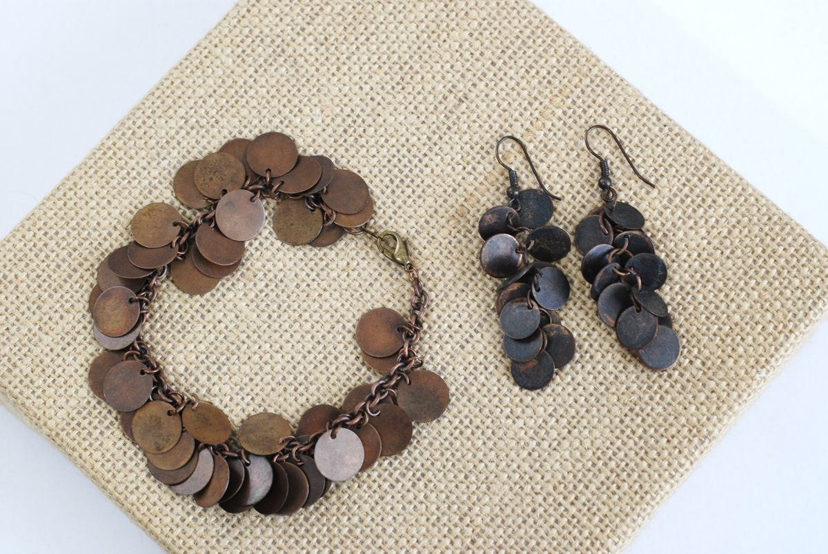 Copper Disc Cha Cha Bracelet and Earrings Set - product images  of