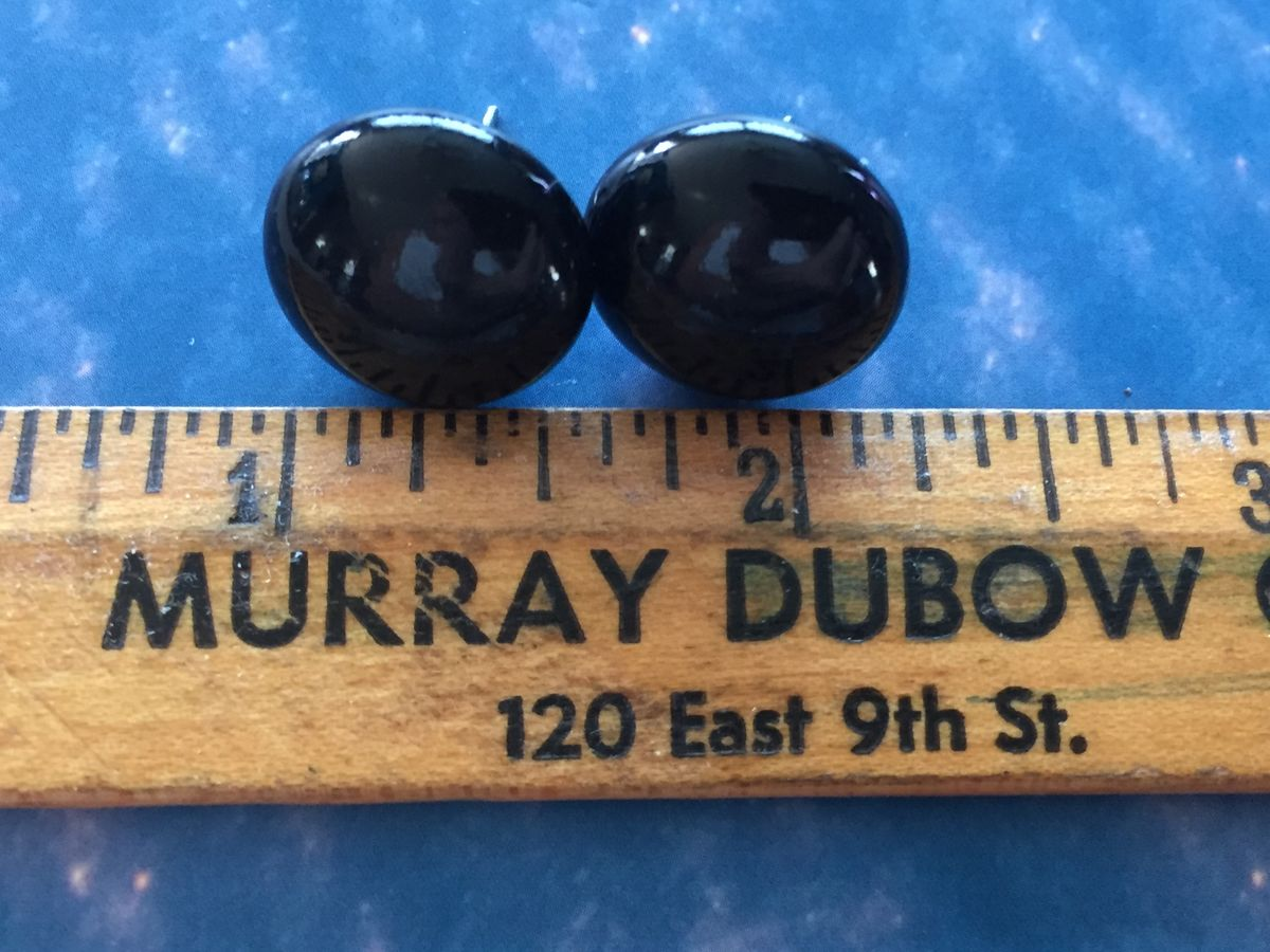 Small Black Button Post Earrings - product images  of