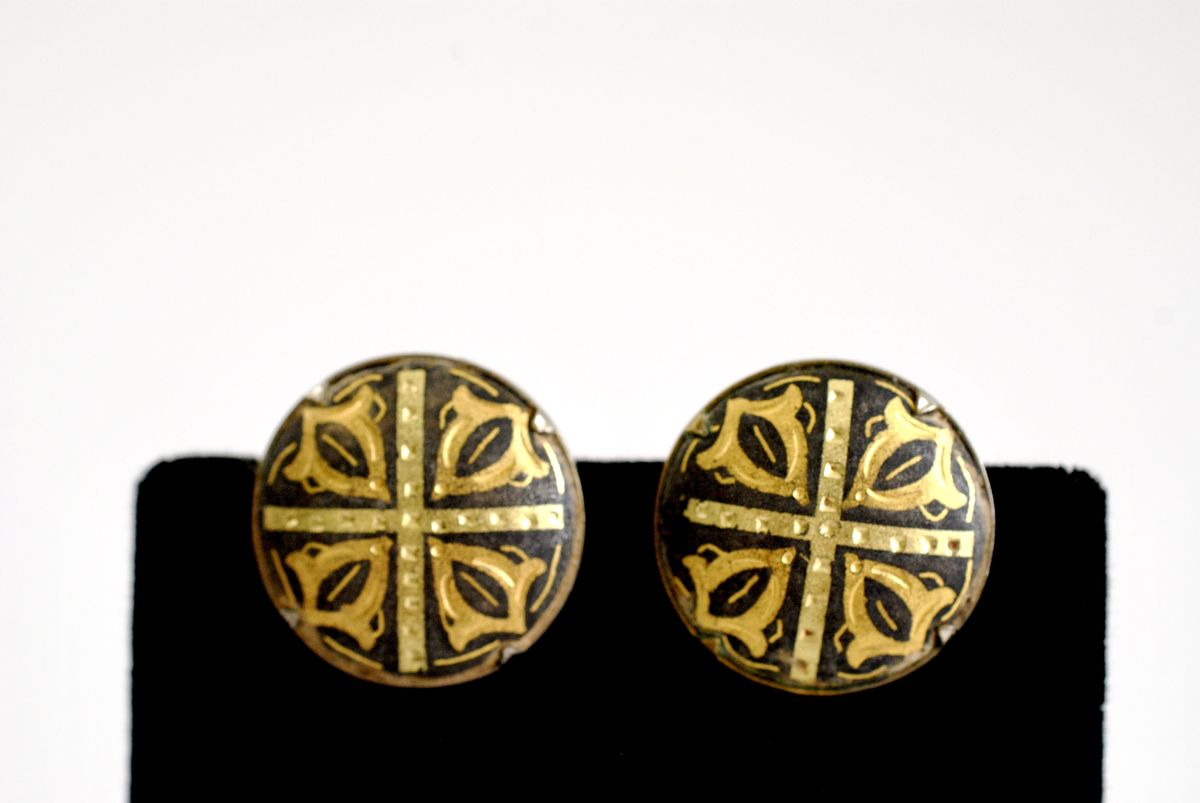 Vintage Damascene Toledo Button Earrings Clip On Style - product image