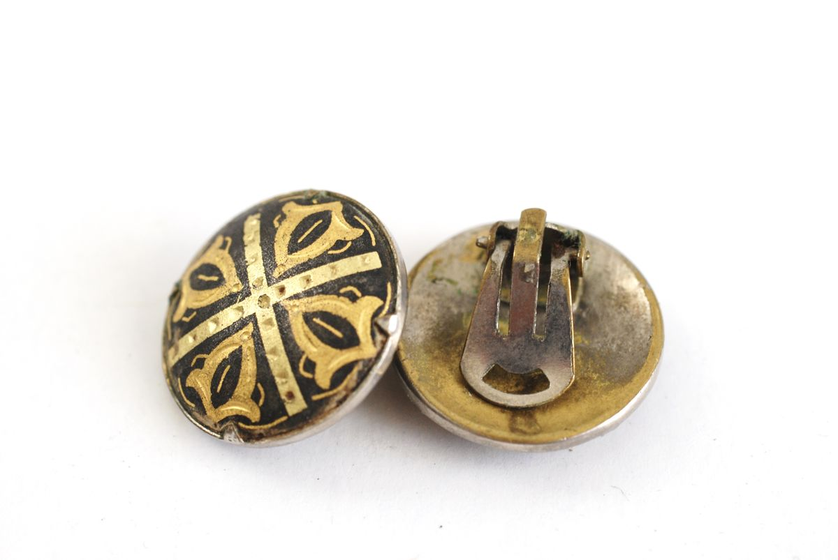 Vintage Damascene Toledo Button Earrings Clip On Style - product images  of