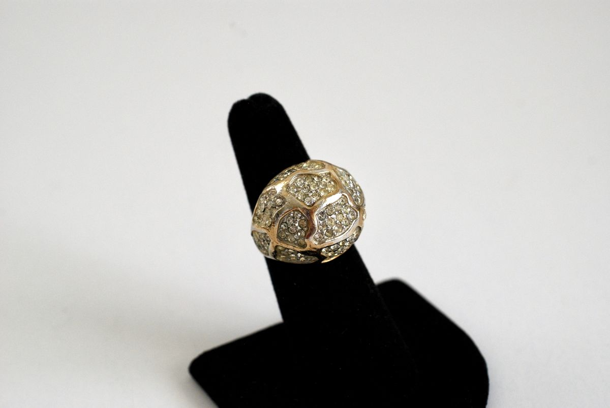 Rhinestone Encrusted Bubble or Dome Cocktail Ring Gold Tone  - product image