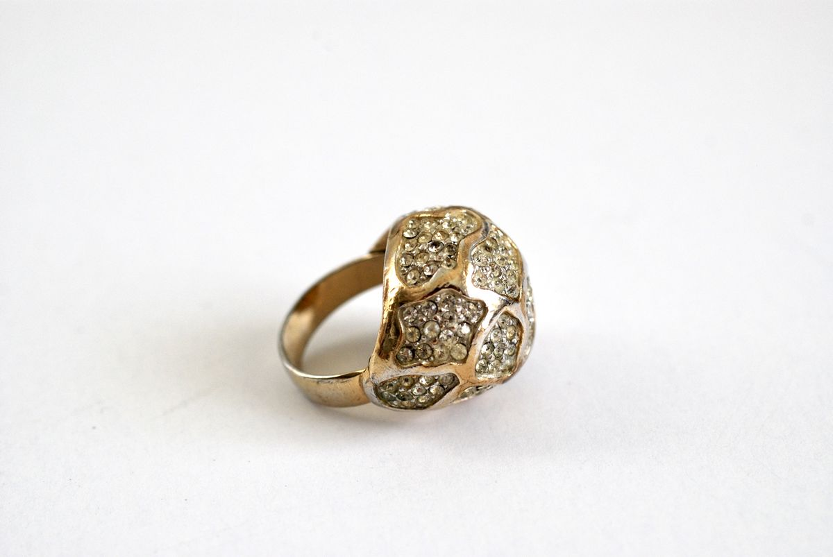 Rhinestone Encrusted Bubble or Dome Cocktail Ring Gold Tone  - product images  of
