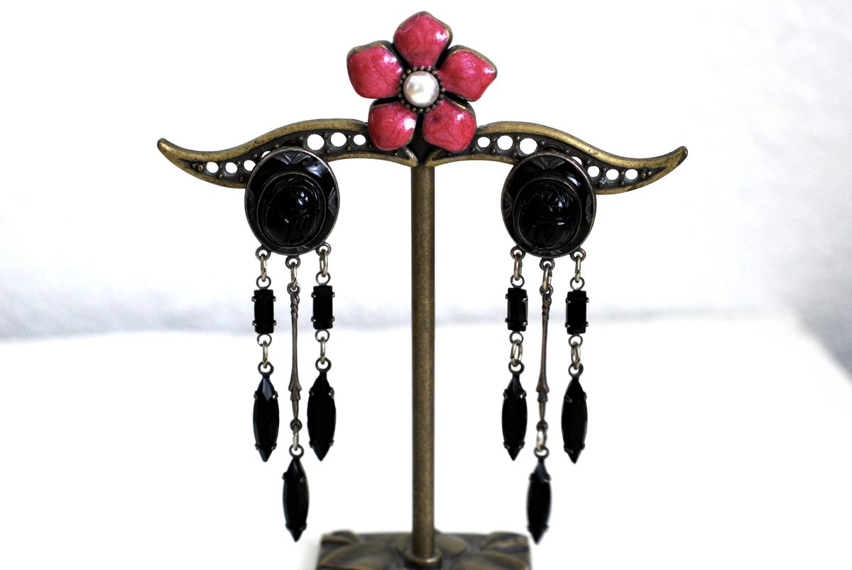 Scarab Earrings with Dangle Beads in Black  - product images  of
