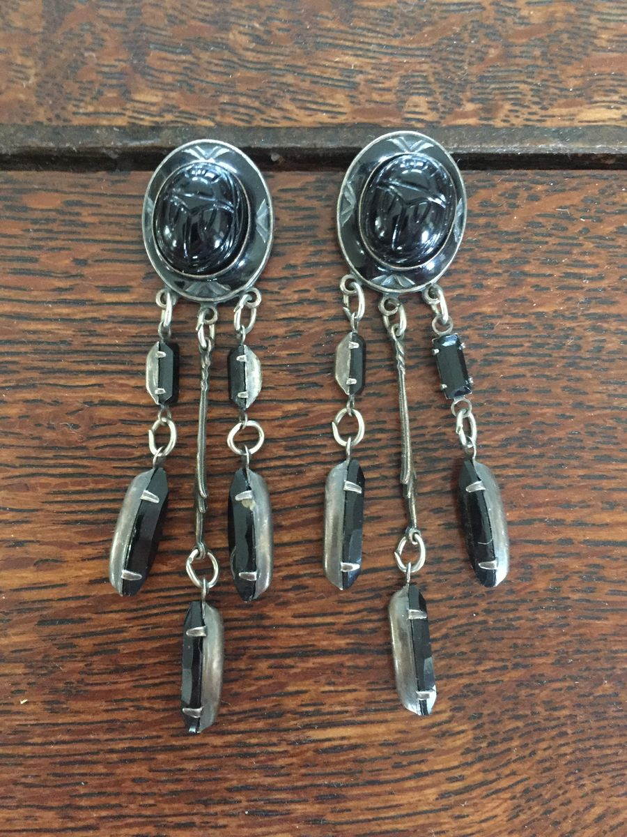 Scarab Earrings with Dangle Beads in Black  - product image