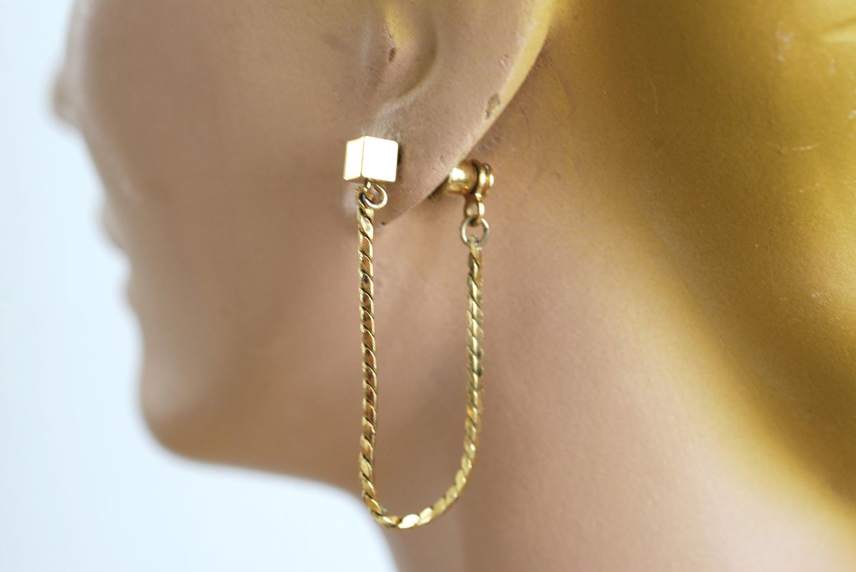 Monet Gold Chain and Stud Pierced Earrings - product images  of
