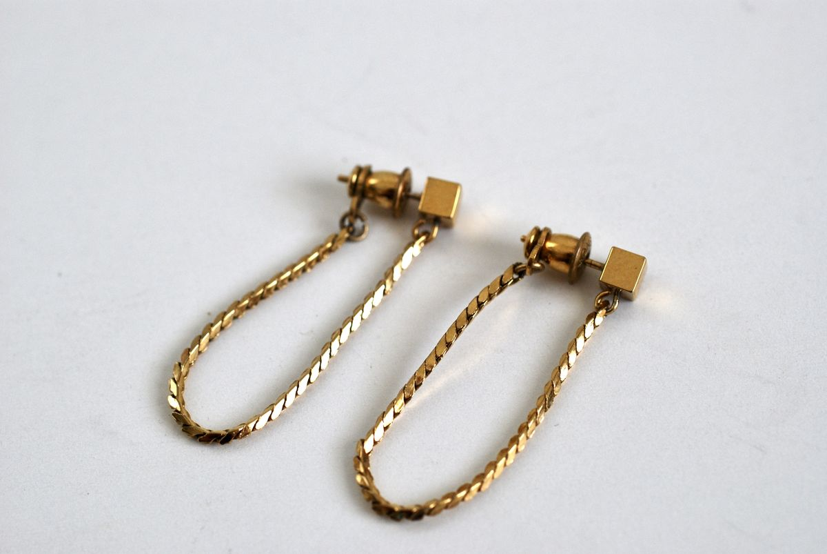 Monet Gold Chain and Stud Pierced Earrings - product image