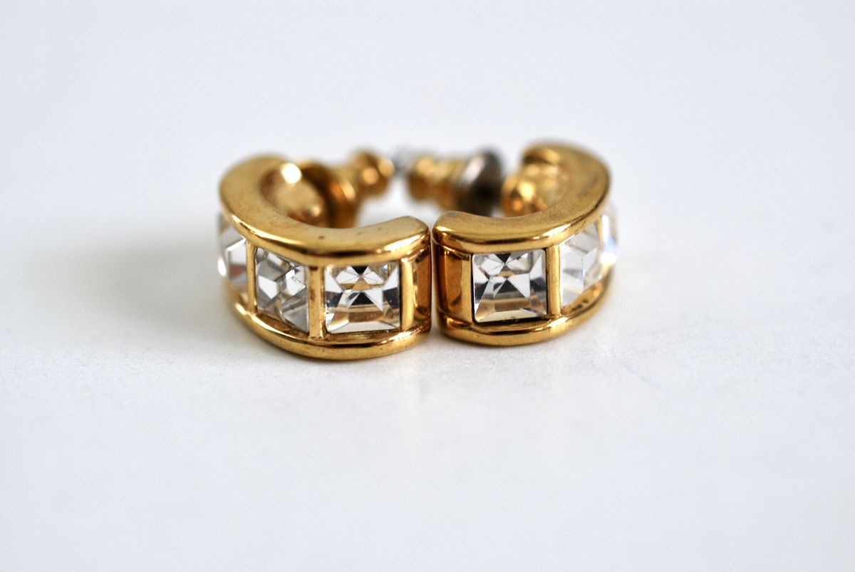 Vintage Swarovski Half Hoop Earrings Square Crystals - product image
