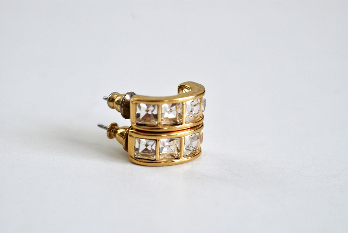 Vintage Swarovski Half Hoop Earrings Square Crystals - product images  of