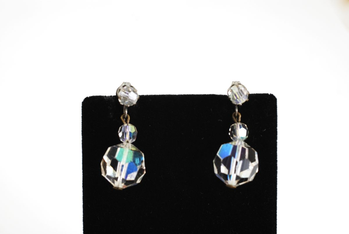 Faceted Aurora Borealis Crystal Drop Earrings - product image
