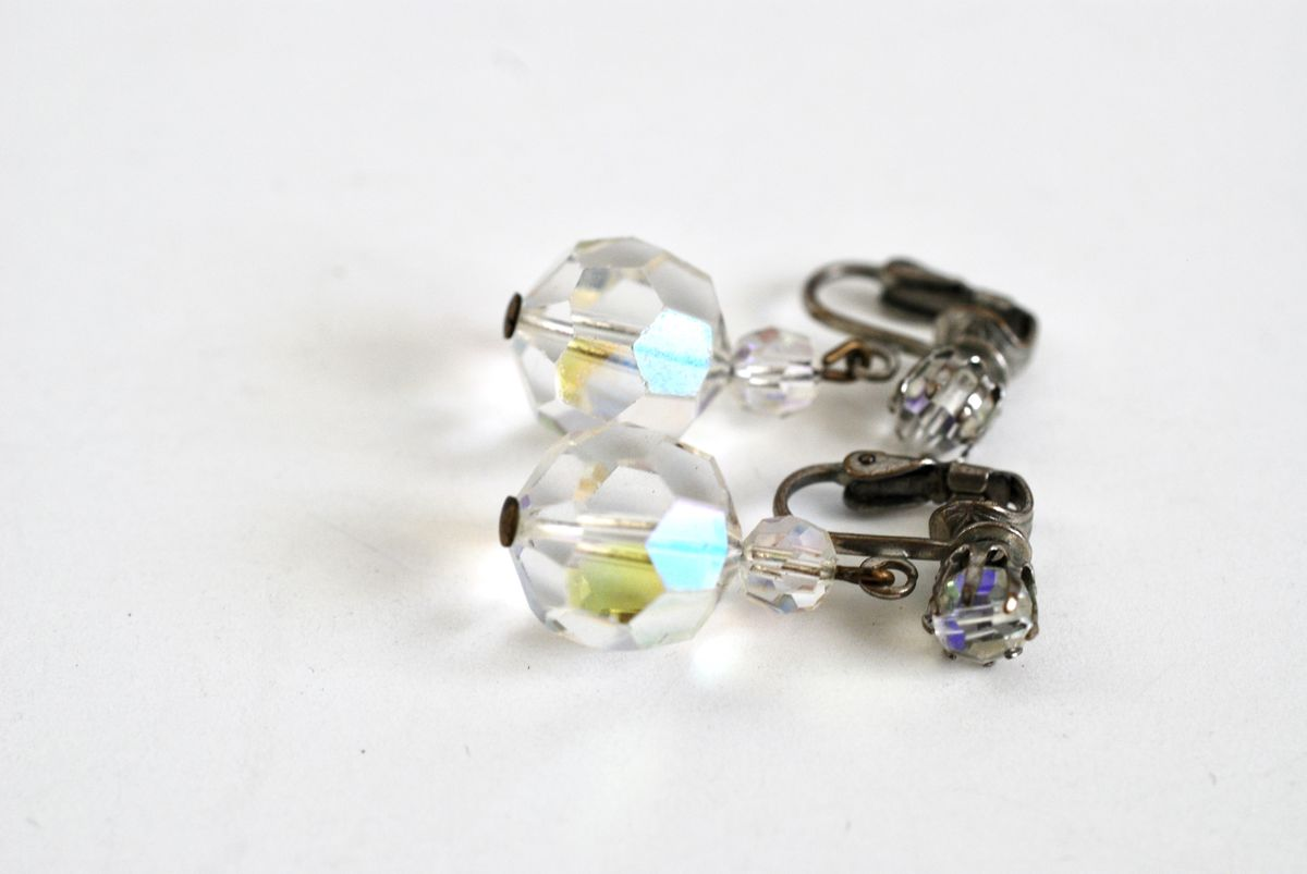 Faceted Aurora Borealis Crystal Drop Earrings - product images  of