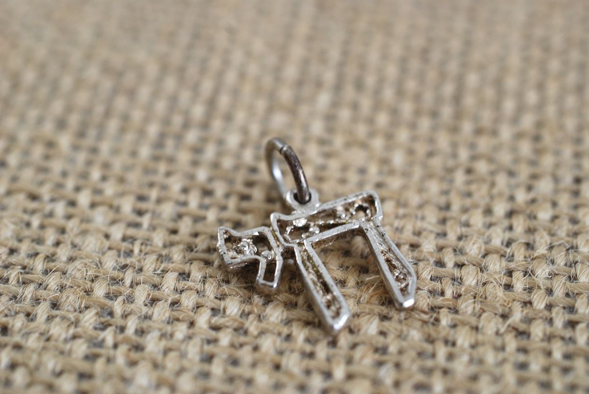 Sterling Silver Filigree Jewish Chai Pendant/Charm - product images  of